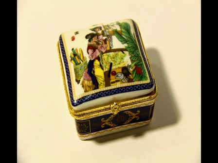 Gold Frame Tone Openable Jewlery Box Porcelain Chinese drawing S five CM